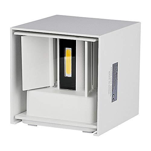 V-TAC SKU.7079 Applique Murale LED 6W Carre Blanc IP65 VT-759, Plastique,et Autre materiaux, E27, 6 W, Hauteur x Largeur x Profondeur :100 mm x 100 mm x 100 mm