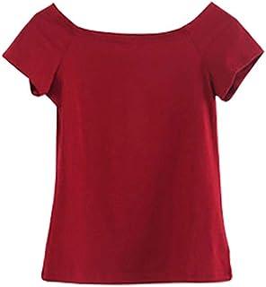 レディース Tシャツ 半袖 ボートネック 綿 無地 トップス カットソー スリム 伸縮性 全13色