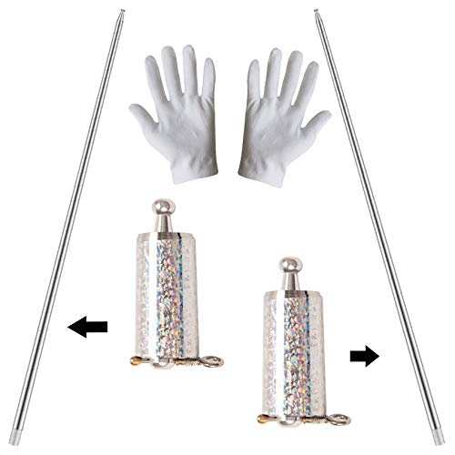 2 Pcs Magic Pocket Staff, Expandable Staff, Metal Appearing Magic Tricks for Professional Magician Stage Street Magic Performance, Magic Staff Pocket Mini Staff for Adults Gifts(Silver, 43.3Inch)