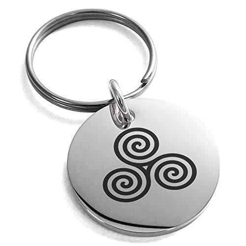 Stainless Steel Celtic Triskele Triskelion Triple Spiral Symbol Small Medallion Circle Charm Keychain Keyring