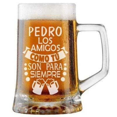 Jarra de Cerveza Personalizada AMIGOS PARA SIEMPRE. Regalo Grabado Personalizado Hombre o Mujer. Regalo Práctico, Elegante, Divertido, Obsequio Novedoso Original. Detalle Celebraciones