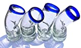 Authentic Mexican Hand Blow tequila shot Crafted Cobalt Blue Rim bent recycled Glass Set of 4, 2 Oz Each 50 Ml Cinco de Mayo Vaso Tequilero Chueco Scotch Christmas New Year cheers