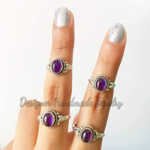 Women Ring Natural Purple Amethyst Ring Sterling Silver Ring Ring For Her. 925 Solid Silver Ring Stackable Ring Amethyst Ring