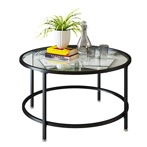 XWZJY Living Room Round Glass Coffee Table with Wrought Iron Frame Sofa Table Furniture Decor,Easy Assemble(Size: Ø31.5 x H17.7)