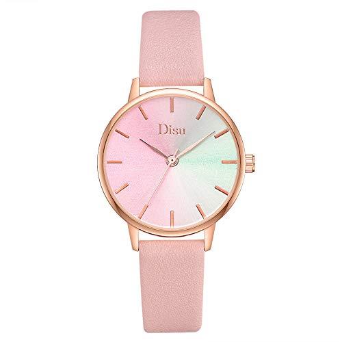 Powzz - Reloj inteligente para mujer, esfera degradada, piel sintética, reloj de cuarzo, color rosa
