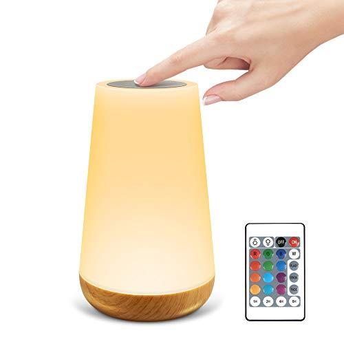 solawill Lámpara de mesita de noche LED Touch regulable con mando a distancia, luz nocturna para niños con cambio de color RGB13, lámpara de mesa portátil USB para habitación de los niños