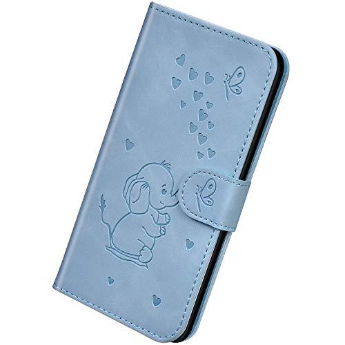 Herbests Kompatibel mit Huawei P30 Lite Hülle Leder Handyhülle 3D Herz Schmetterling Elefant Muster Lederhülle Flip Cover Case Klappbar Bookstyle Brieftasche Ledertasche Schutzhülle,Blau