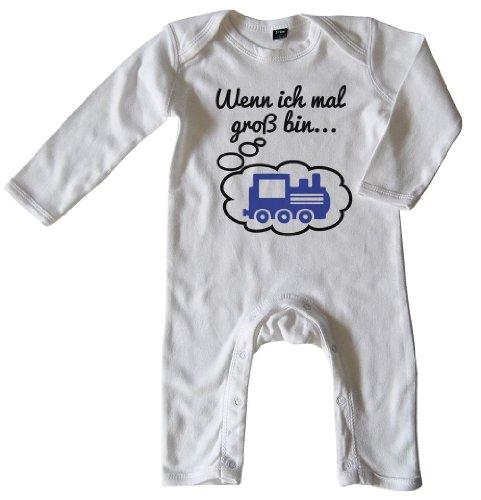 Mikalino Baby Schlafanzug Wenn ich mal groß Bin. Lok Schwarz-blau Print, Größe_Farbe:3-6 Monate;Farbe:Weiss