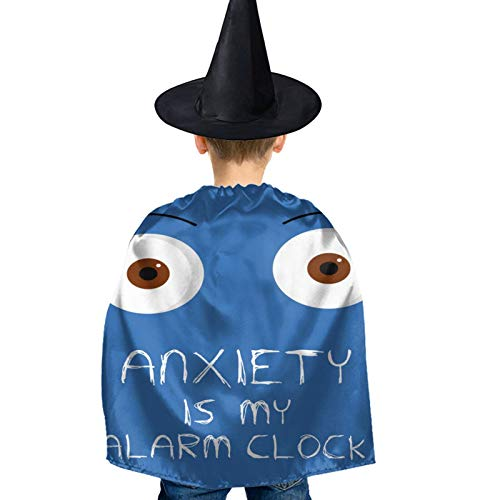 XIOJEIEY Anxiety is My Alarm Clock Kids Halloween Costumes Witch Wizard Cloak with Hat Wizard Cape for Boys Girls 3-12 Y Black