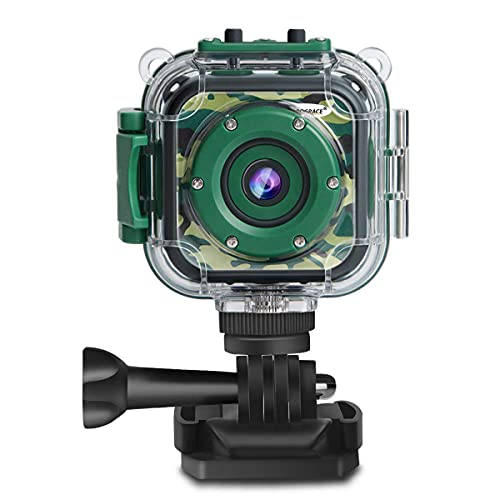 PROGRACE Children Kids Camera Waterproof Digital Video HD Action Camera 1080P Sports Camera Camcorder for Boys Holiday Birthday Gift Learn Camera Toys 1.77'' LCD Screen(Camouflage)