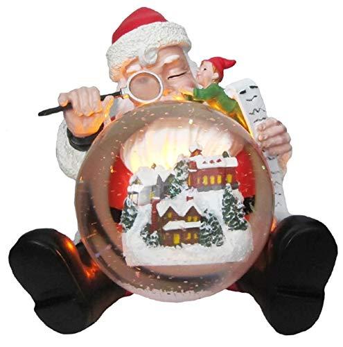 LED Schneekugel Glitzerkugel Weihnachtsmann mit Wichtel und Wunschliste Weihnachten