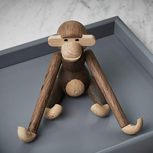 Kay Bojesen Figura Decorativa de Madera de Mono pequeño con Monos daneses, Roble Ahumado, 7,5 cm