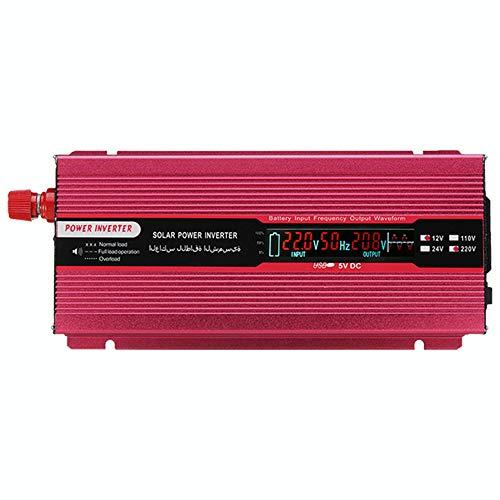 Rosepoem Onduleur Solaire 1000W / 2100W DC de 24V à 220V, Adaptateur Chargeur de Voiture avec Interface USB Prise Secteur Universelle