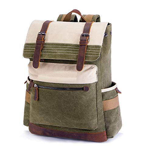 SUVOM Vintage Canvas Rucksack 15.6' Laptop Backpack Genuine Leather Daypack School Bag for Outdoor Travel Hiking(Green)