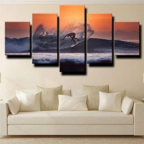 QWASD Surf Deportivo Extremo Oscuro 5 Piezas Pintura sobre Lienzo Moderna Pintura Impresión del Hogar Sala Estar Dormitorio Cuadro sobre Lienzo Regalo Carteles