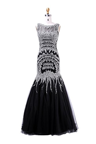 Dulamy&Finove Classic Mermaid Boat Neck Crystal Formal Celebrity Dress All Handmade Beaded Sequins Sleeveless Sweep Train Tulle Evening Party Dresses (14, Black)