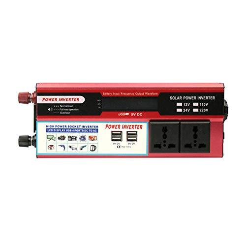 2000W de Potencia máxima del convertidor DC 12V a 110V 220V AC convertidor 12V del Coche inversor con el mechero de 12V 4.8A con 4 USB Adaptador de Coche 2 sockets de CA con Pantalla LCD-Rojo