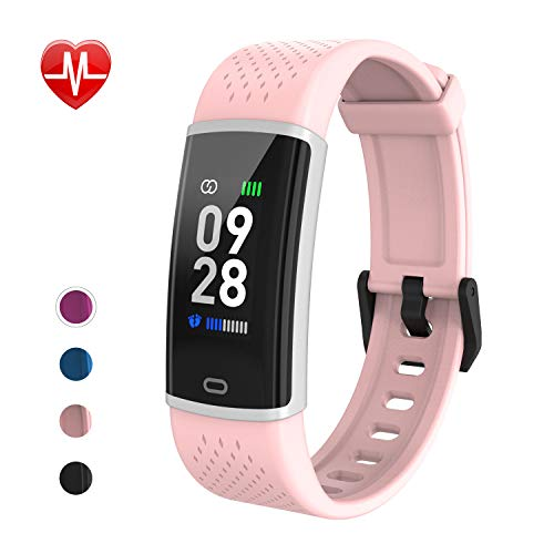 Fitpolo Fitness Tracker - Slim Waterproof Smart Watch with Heart Rate Monitor, Activity Tracker with Step&Calorie Counter, Sleep Monitor,Pedometer, Call/SNS Remind for Kids Women Men (Pink)