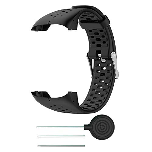 Silikon Armband kompatibel für Polar M400 M430, Silikonarmband Uhrenarmband Sport Ersatz Armband Sportarmband Ersatzband kompatibel für Polar M400 M430 20mm (Schwarz)