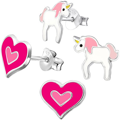 2 Paar JAYARE Kinder Ohrstecker Herz und Einhorn 925 Sterling Silber Emaille Mädchen Ohrringe