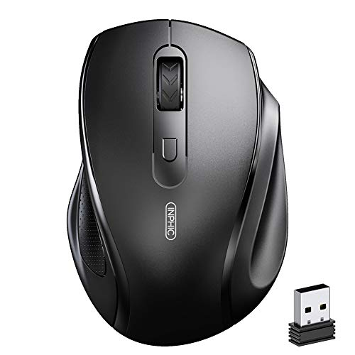 INPHIC Wireless Mouse for Laptop, Ergonomics Silent Portable 2.4Ghz Wireless Mouse with USB Receiver, 800/1200/1600 DPI Cordless Mice for PC Computer , Mac OS, Windows 7/8/10, Black
