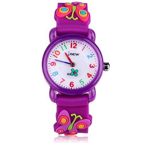Kinder Uhr, Armbanduhr für Kinder Mädchen, 30M wasserdichte Analog Quarzuhr, 3D Cute Cartoon Uhr, Digitale Kinderuhr, Teaching Handgelenk Uhren mit Silikon Armband, Kids Watch.-Lila