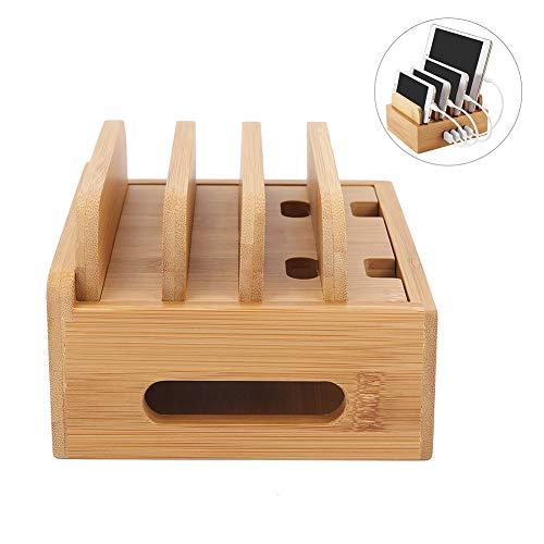 Bamboo laadstation voor meerdere apparaten, Wood Docking Stand Organizer Multifunctioneel voor telefoons, tablets en schrijfwaren (hof, zonder USB-oplader)