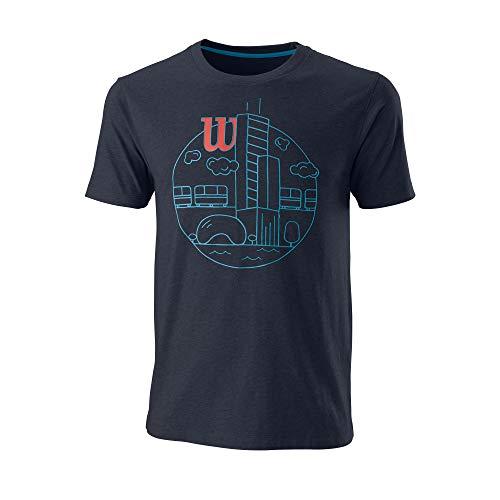 Wilson Hombre Camiseta de Manga Corta, CHI Skyline CTN T-Shirt, Algodón, Azul grisáceo (Outer Space), Talla XL, WRA790802XL
