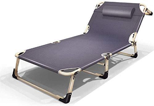 HYY-YY Chaise longue portátil flexible Appuitête inclinable Chaise inclinable Camping Jardín Patio Playa Lit extérieur Meubles de bureau à domicile (Couleur: Gris, Taill