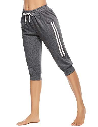 Doaraha Damen Caprihose 3/4 Yogahose Jogginghose Trainingshose Elegant Relaxhose Schlafhose mit Kontraststreifen für Sport und Freizeit, Dunkelgrau, XL
