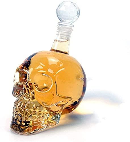 Ghongrm Decantador de Whisky, Botella de cráneo de Cristal, dispensador de Vidrio también para Brandy Tequila Bourbon Scotch Rum, Gran Regalo para Cualquier Bar (1L)