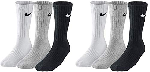 Nike 6 Paar Herren Damen Socken SX4508 weiß oder schwarz oder weiß grau schwarz (42-46, weiß grau schwarz)