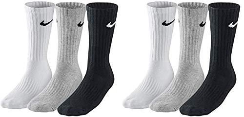 Nike SX4508 - Calcetines para hombre y mujer (6 pares, talla 34-38), color blanco, gris y negro