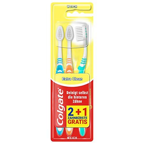 Colgate Zahnbürste Extra Clean weich, 3 Stück, reinigt selbst die hinteren Zähne