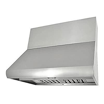 "KOBE CH0042SQB-WM-5 Deluxe 42"" Wall Mount Range Hood, 3-Speed, 1100 CFM, LED Lights, Baffle Filters"