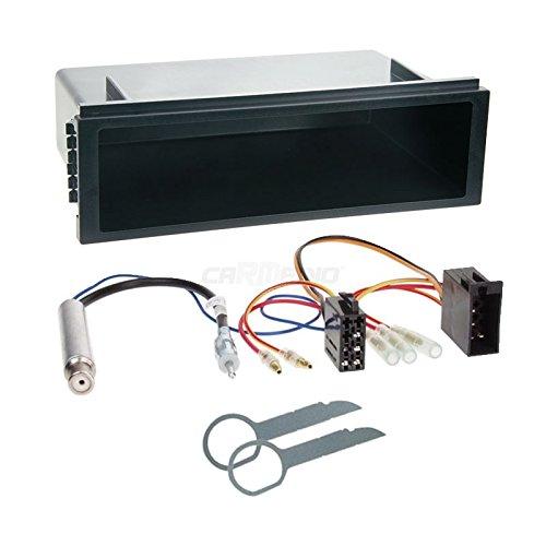 Carmedio VW Polo 9N 01-05 1-DIN Autoradio Einbauset in original Plug&Play Qualität mit Antennenadapter Radioanschlusskabel Zubehör und Radioblende Einbaurahmen schwarz