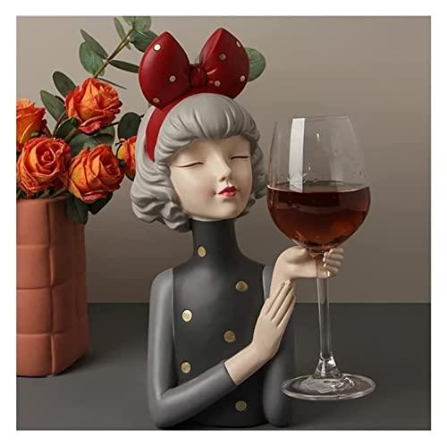 Estante del vino creativo muchacha del vino en rack Decoración Hogar gabinete del vino Decoración estreno de una casa hogar del regalo de boda del vino de almacenamiento en rack Modern Plastic Pequeñ