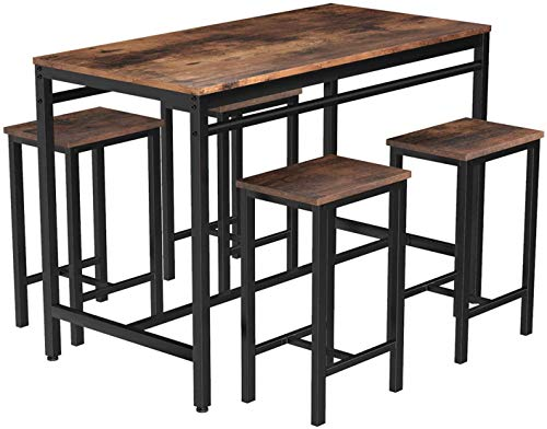 MIERES Dining Table Set for 4 Metal Legs Stools Kitchen Counter w/Adjustable Feet, Breakfast Nook Wood Tabletop of 47x 23.6 x 32.7, Small Space Table & Chairs, 5pcs, Rustic Brown