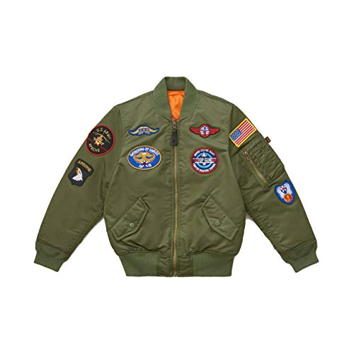 Alpha Industries Boys' MA-1 Flight Jacket with Patches (4T, Sage)