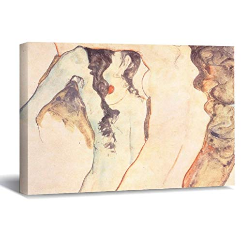 Two Women Embracing Egon Schiele Canvas Picture Painting Artwork Wall Art Poto Framed Canvas Prints for Bedroom Living Room Home Decoration, Ready to Hanging 16'x24'