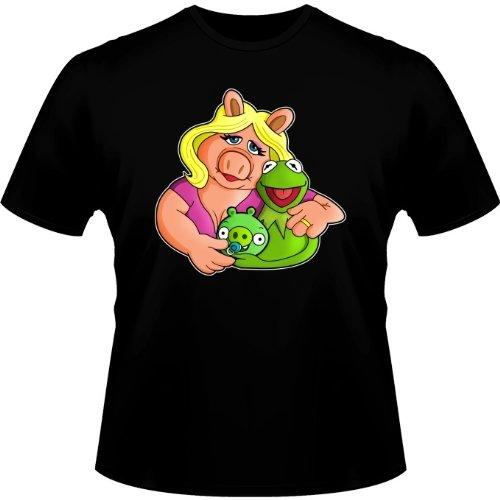 T-Shirt Geek - Parodie Angry Birds/Muppet Show - Une Famille de Stars !!! : - T-Shirts Hommes Noir - Haute Qualité (411)