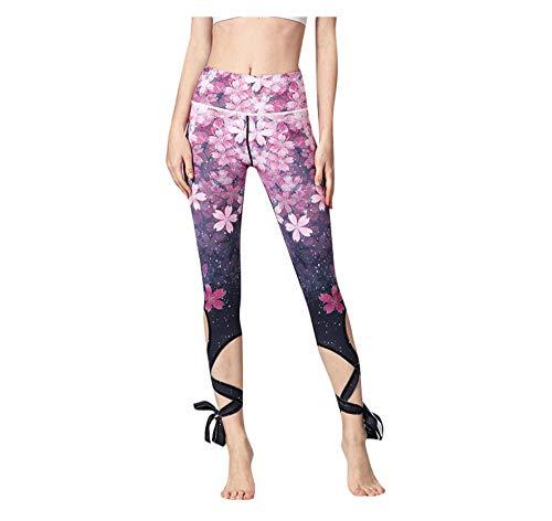 WUXEGHK Women Print Yoga Pants Women Unique Fitness Leggings Workout Sports Running Leggings Sexy Push Up Gym Wear Elastic Slim Pants Size:L