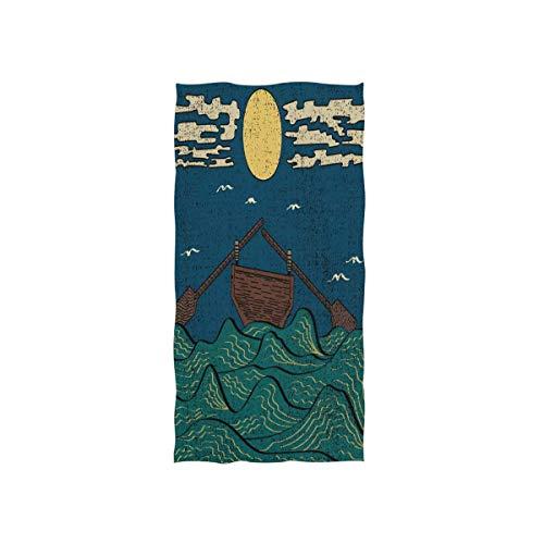 LREFON Toallas Olas del mar japonés con Cielo Azul Luna Nube Barco Océano Ave para la Ducha,Toallas de baño,Deportes al Aire Libre