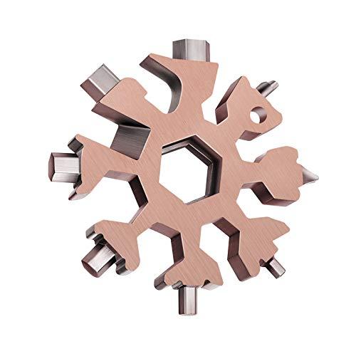 Multiherramienta de copo de nieve, 18 en 1, herramientas de mano múltiples de acero inoxidable, kit de destornillador/llave y abrebotellas, color retro para hombres (oro rosa)