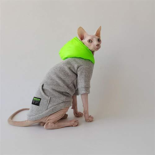 NELIT Sphynx Katzenkleidung Cotton Plus Velvet Warm Sweater Winter Superweiche haarlose Katzenkleidung-grau_XL