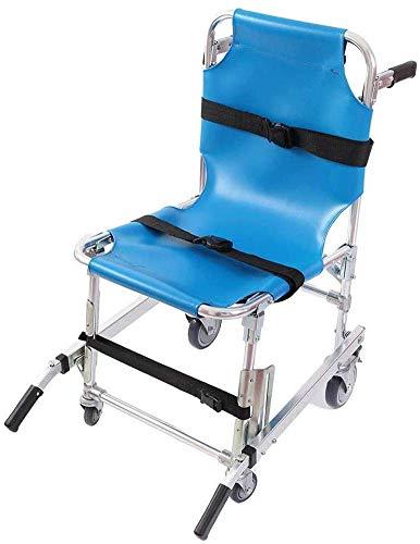 GLJY Aluminium-Leichtbau EMS Stair Chair Notevakuierung Medical Aufzug Treppen Stuhl mit Schnellverschlüssen - Gewicht Kapazität 350 lbs, Blau