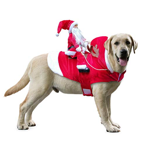 Idepet Hundekostüm Weihnachten, Hund Weihnachten Kostüm mit Santa Claus Reiten auf Haustier Katze Hundepullover Weihnachten Rot (XXL)