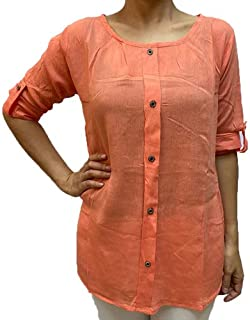 Veronica Long Sleeve Ladies Blouse Round neck peach