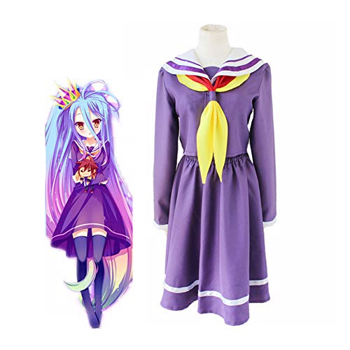 CGBF - No Game No Life Anime Shiro Cosplay Kostüm Halloween Spiel Party Matrosen Anzug Lila M