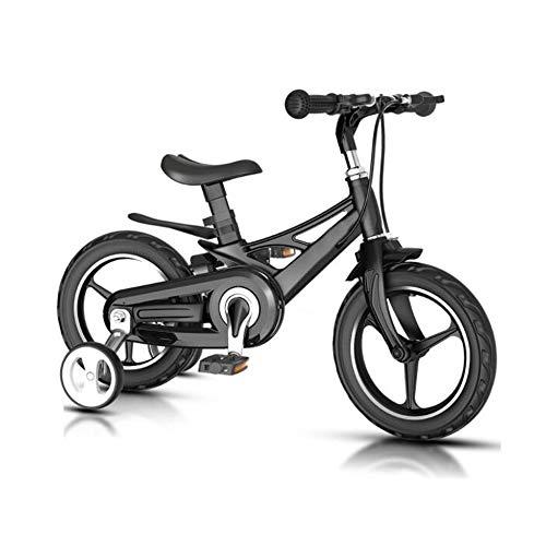 YumEIGE magnesiumlegering voor kinderen, verstelbaar stuur, geïntegreerde fiets, kinderfiets voor 2 tot 8 jaar oud, met steunwielen, cadeau voor kinderen 14in zwart